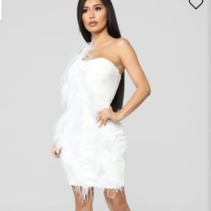 Swan Song Feathered Dress - White